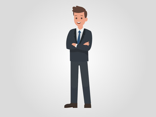 Young handsome businessman standing with folded arms. Front view. Flat vector