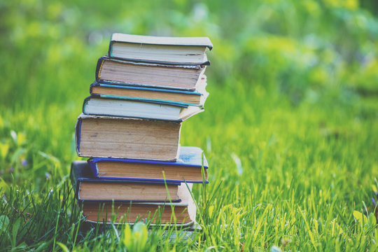 The stack of books outdoors on green grass in spring