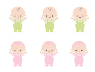 Set with cute little baby in diaper with different emotions. Various face expressions. set of Girl and boy baby. Colorful vector.