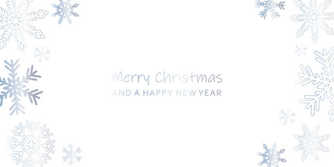 bright christmas greeting card with snowflakes and white background vector illustration EPS10