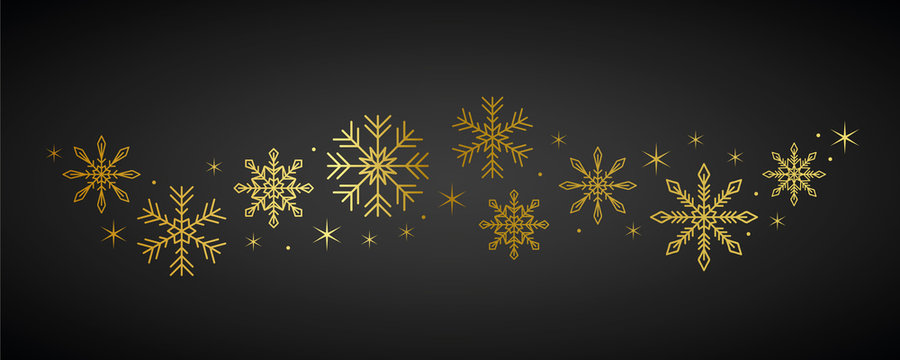 golden snowflakes and stars border on dark background vector illustration EPS10