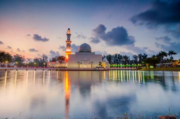The beautiful nature and reflection of Tengku Tengah Zaharah Mosque, most iconic floating mosque located at Terengganu Malaysia.