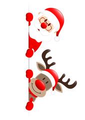 Santa & Rudolph Thumb Up On Top Banner