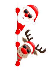 Santa & Rudolph Sunglasses Thumb Up On Top Banner
