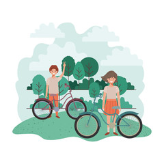 children with bicycle in landscape