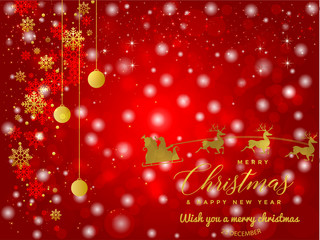 Red and Golden Christmas background with Text Merry Christmas and  Happy new year illustration.