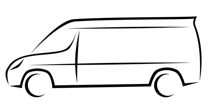 Dynamic vector illustration of a van as a logo for delivery or courier company
