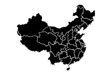 Mapa negro de china.