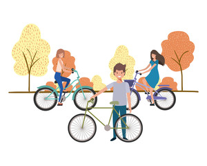 group of people with bicycle in landscape