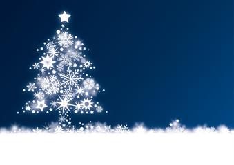 Weihnachtskarte mit Weihnachtsbaum auf blauem Hitergrund