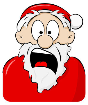 portrait of a shocked Santa Claus