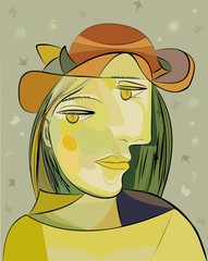 Obraz Colorful abstract background, cubism art style, woman brown hat - fototapety do salonu