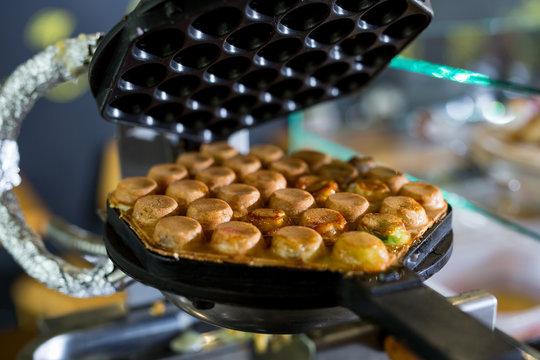 Machine made bubble waffle at shop, Hong Kong bubble waffle