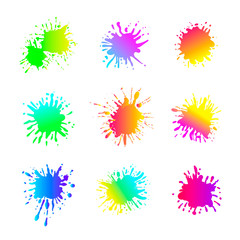 Vector Set of Different Liquid Shapes, Acid Bright Colors, Isolated Collection.