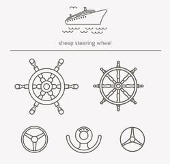 Equipment for transport driving logo set. Ship steering wheel thin line icons. Vector illustration