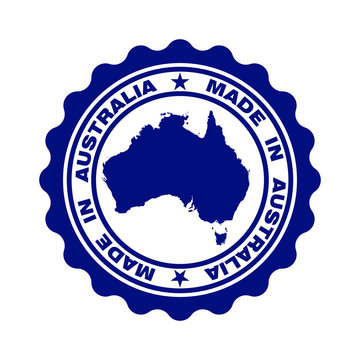 "Stamp with text ""Made In Australia"". Seal with map of Australia. Logo quality. Icon premium quality. Label. Vector illustration"