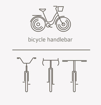 Equipment for transport driving logo set. Bicycle handlebar, steering wheels thin line icons.