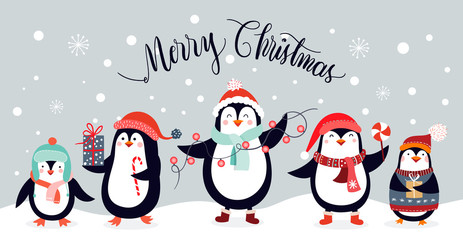 Christmas card design with cute penguins isolated on an winter background