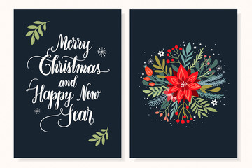 Christmas cards collection with floral bouquet and hand lettering, vector design