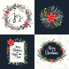 Christmas collection with four greeting cards, hand lettering and seasonal floral design