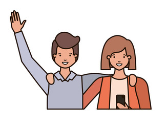 couple with hands up and smartphone avatar character