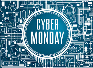 Cyber monday sale design template. Technology background. Blue cybermonday banner. Vector illustration.