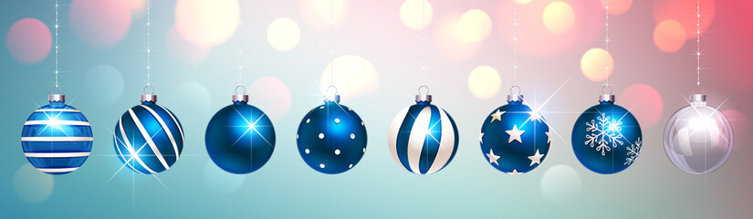Blue Christmas Balls on Colorful Festive Background. Vector