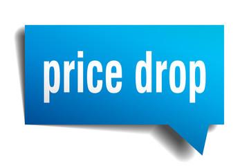 price drop blue 3d speech bubble