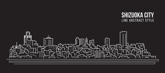 Cityscape Building Line art Vector Illustration design - Shizuoka city Wall mural