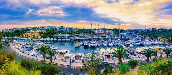 Panorama of Marina de Cala d`Or, Porto Cristo in Mallorca, Spain