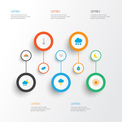 Air icons flat style set with crescent, frost, rainbow and other drop  elements. Isolated vector illustration air icons.