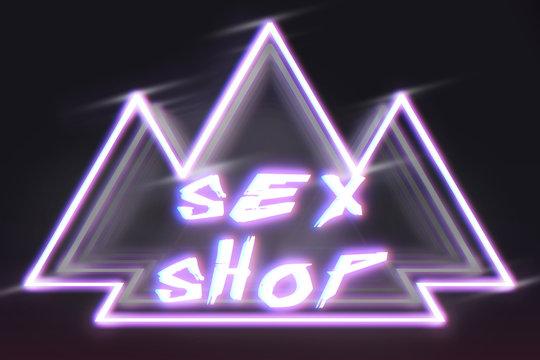banner sex shop, cyberpunk style, neon light,