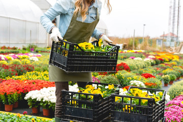Stack the crates with flowers