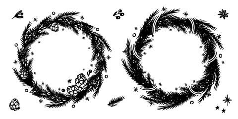 Christmas fir wreath set. Black and white hand drawn circle frame