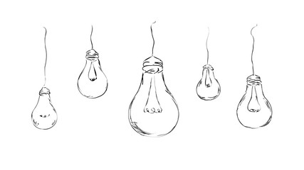 drawn light bulbs in minimalist style for background, interior, design, advertising, ideas, icons, web page. vector sketch