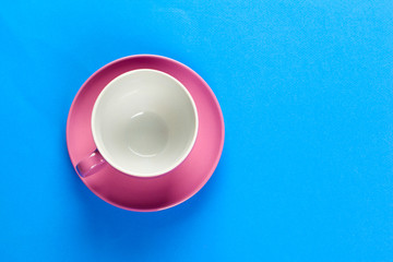 Flat lay view  coffee or tea cup on color background