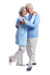 Portrait of happy senior couple on white background