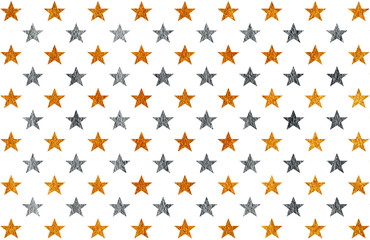 Golden and silver painted stars pattern.