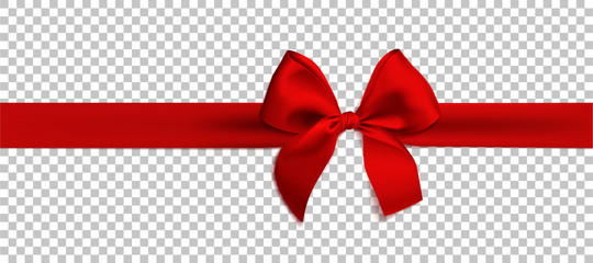 Realistic red bow and ribbon isolated on transparent background. Template for brochure or greeting card. Vector illustration. Fototapete