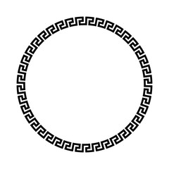 Circle frame of simple greek pattern. Black vector illustration.