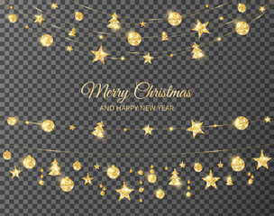 Christmas golden decoration isolated on transparent background. Holiday vector frame, border.