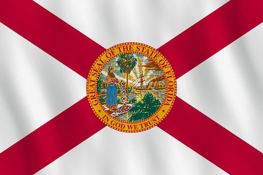 Florida US state flag with waving effect, official proportion.