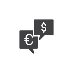 Currency money exchange vector icon. filled flat sign for mobile concept and web design. Euro and Dollar speech bubble simple solid icon. Symbol, logo illustration. Pixel perfect vector graphics