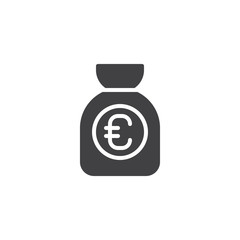 Money bag vector icon. filled flat sign for mobile concept and web design. Euro sack simple solid icon. Symbol, logo illustration. Pixel perfect vector graphics