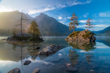 Scenic view of Hintersee lake at autumn morning