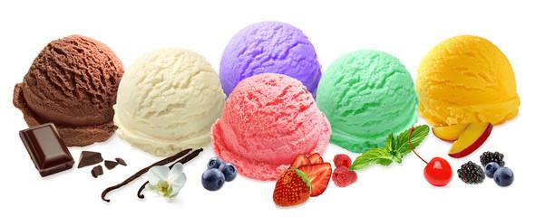 Mint, chocolate, strawberry vanilla blueberry ice cream scoops isolated on white background
