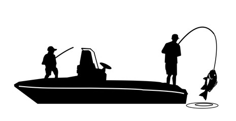 Fishing on a boat silhouette vector