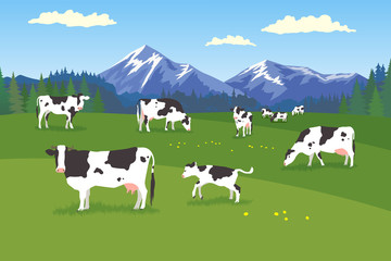 Landscape with forest, meadow, mountains and pasturing herb of cows in various poses Wall mural