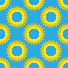 Sun on blue sky seamless pattern. Vector of a sun seamless pattern. Background from a bright sun on a blue sky.