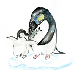 Penguin in watercolors